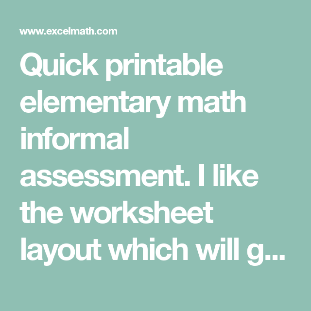 Quick Printable Elementary Math Informal Assessment. I Like The - Free Printable Informal Math Assessments