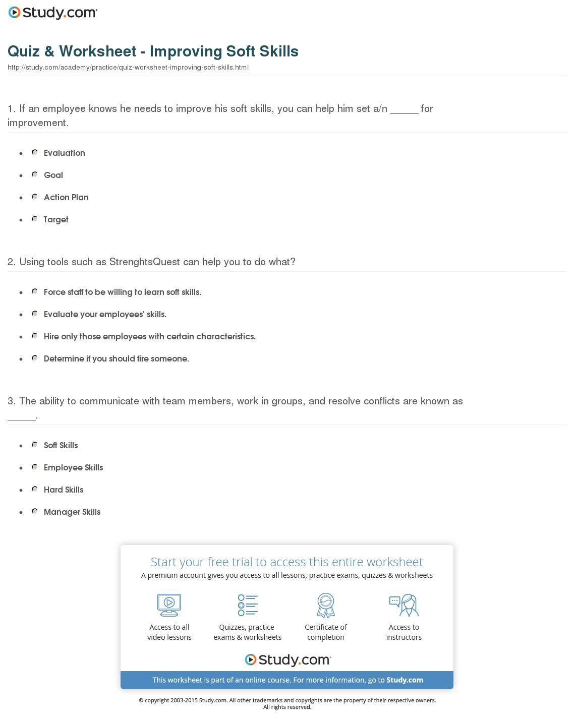 Quiz & Worksheet - Improving Soft Skills | Study - Free Library Skills Printable Worksheets