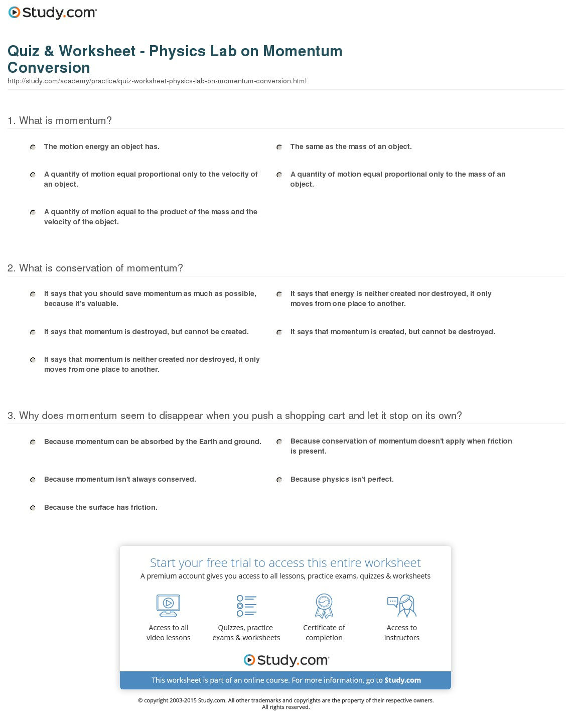 Quiz & Worksheet - Physics Lab On Momentum Conversion | Study - Free Printable Physics Worksheets