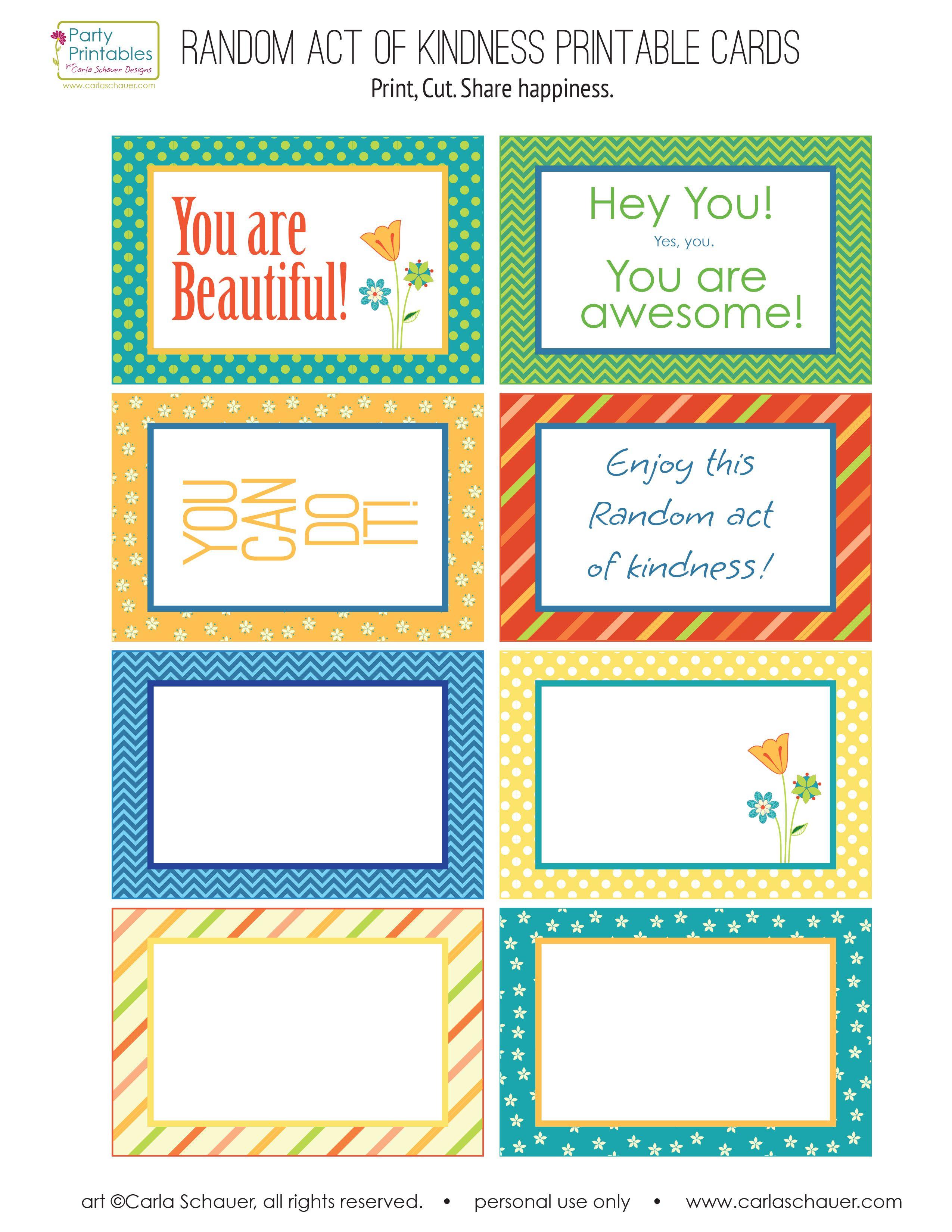 Random Act Of Kindness Printable Cards - Google Search | Education - Free Printable Kindness Cards