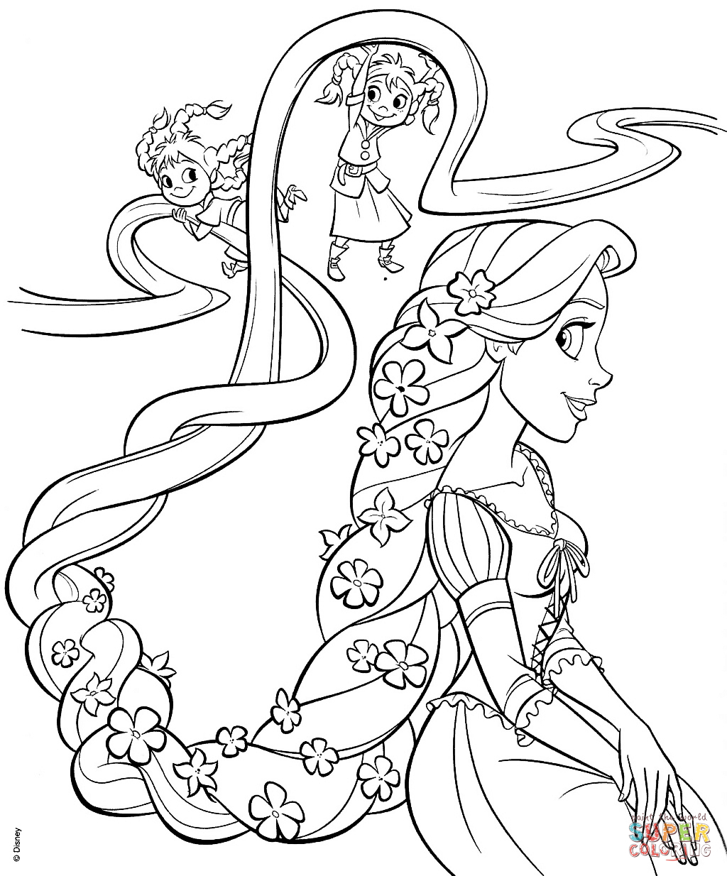 Rapunzel And Four Sisters Coloring Page | Free Printable Coloring Pages - Free Printable Tangled