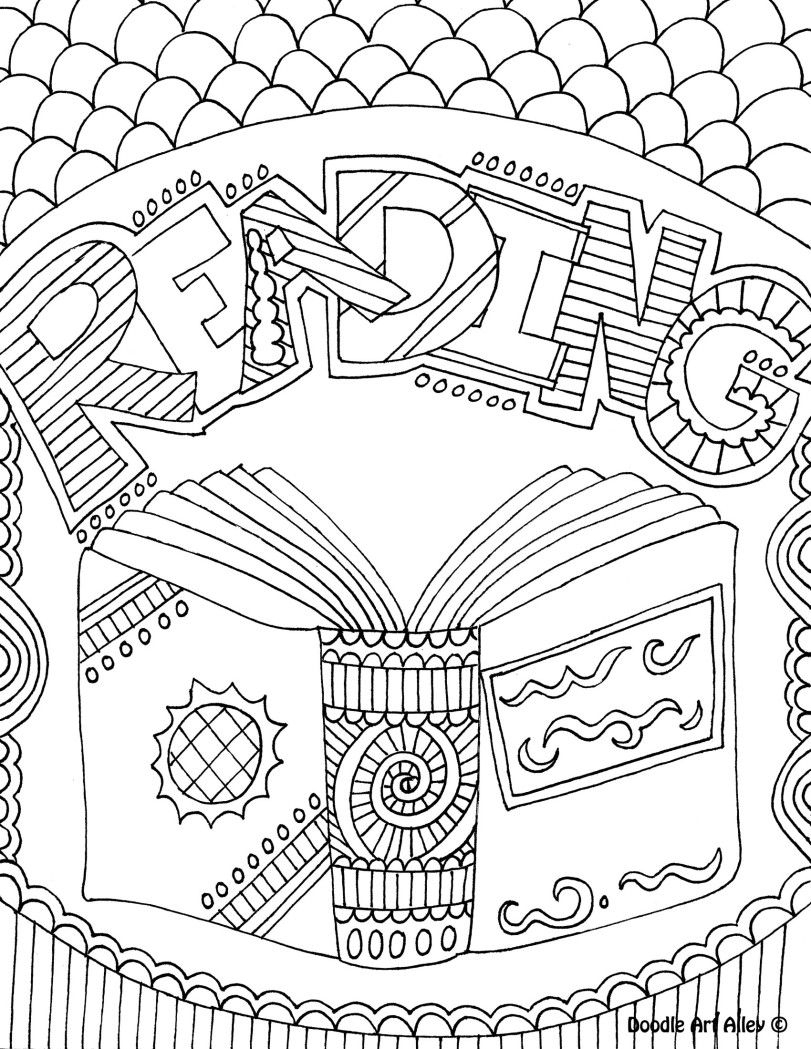 Reading Coloring Sheet. Could Be A Folder/binder Cover. | Library - Free Printable Binder Covers To Color