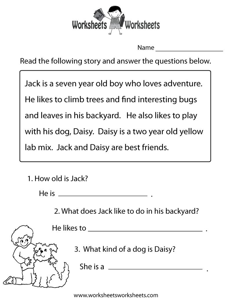 Reading Comprehension Practice Worksheet Printable | Language - Free Printable Reading Comprehension Worksheets For Adults