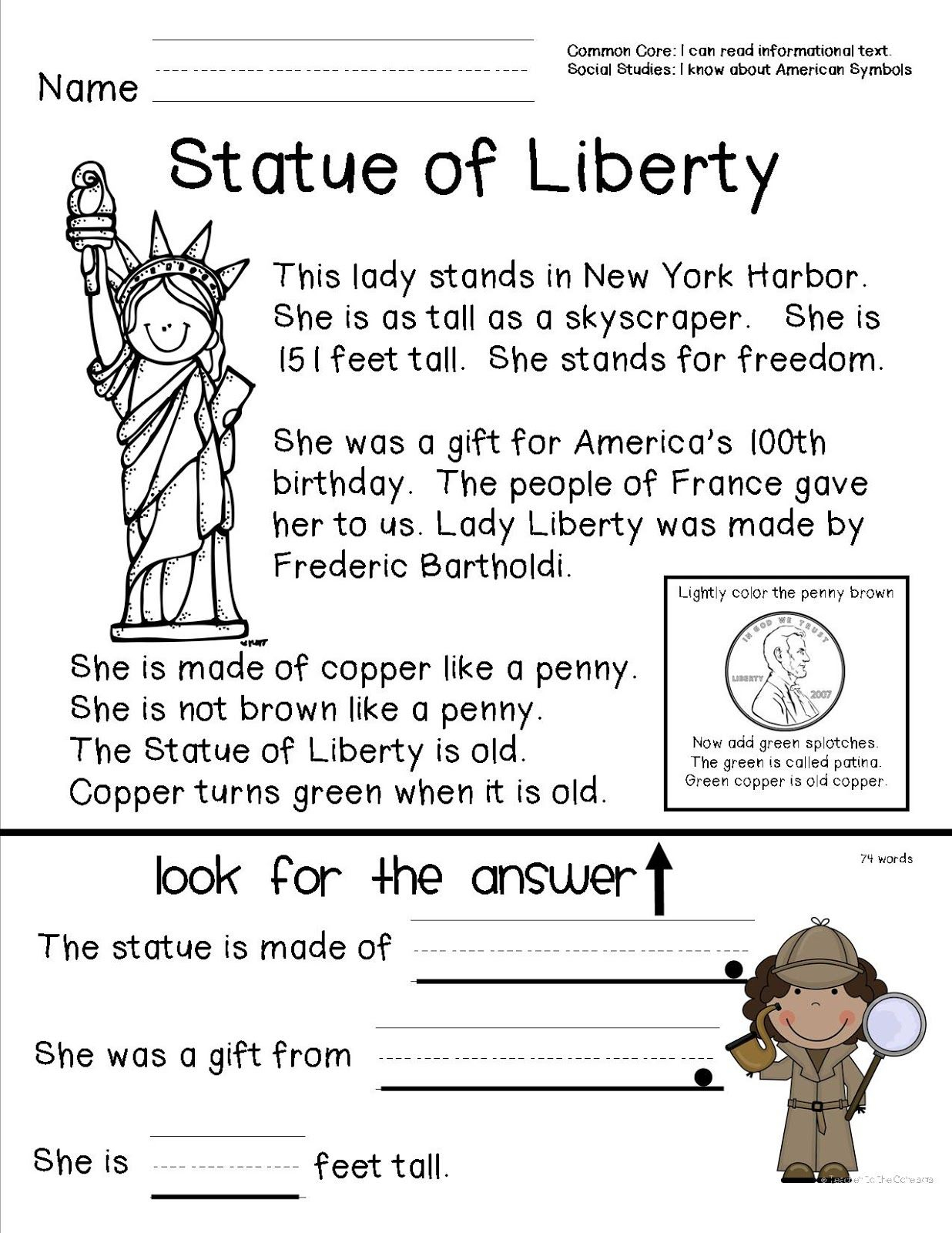 Reading Comprehension Sheet About The Statue Of Liberty For Primary - Free Printable Social Studies Worksheets