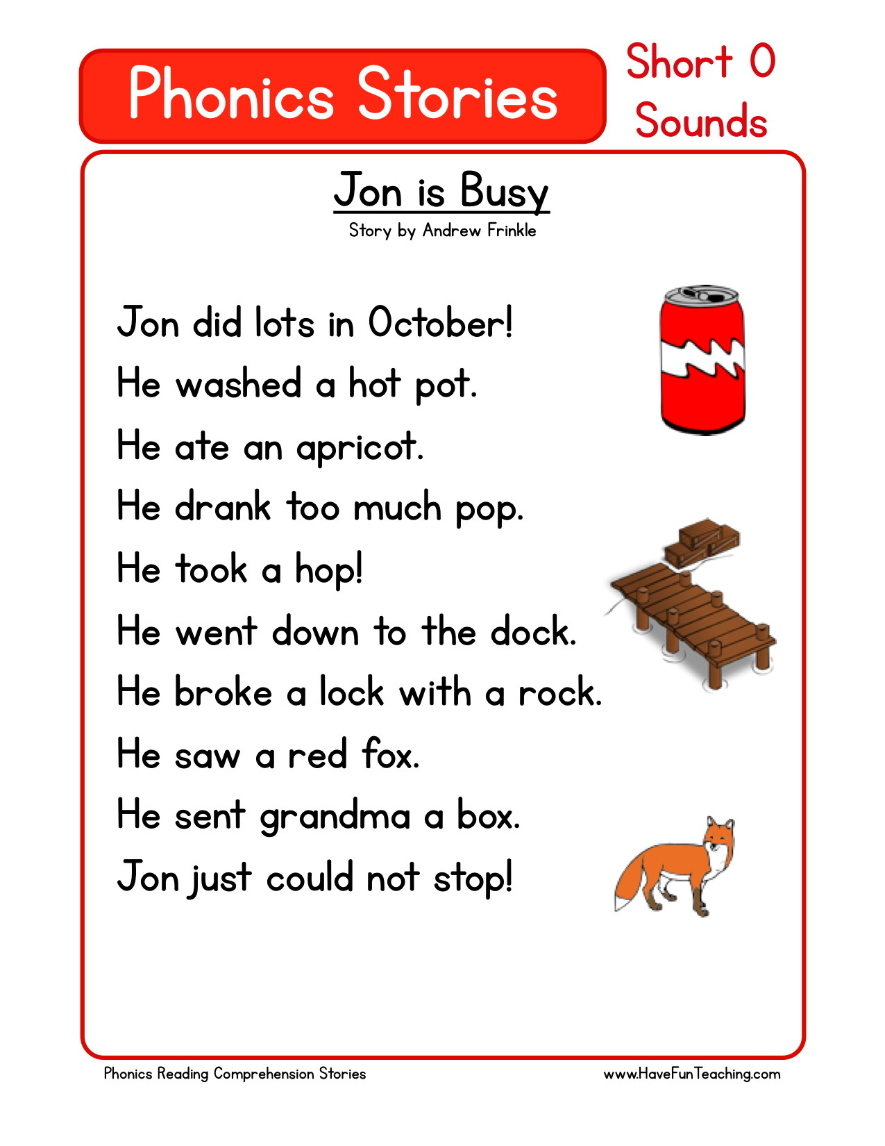 Reading Comprehension Worksheet - Jon Is Busy - Free Phonics Readers Printable