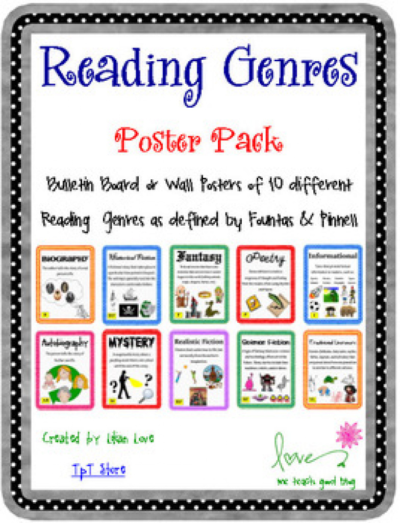 Reading Genre Poster Set With Definitions!me Teach Good   Tpt With - Genre Posters Free Printable