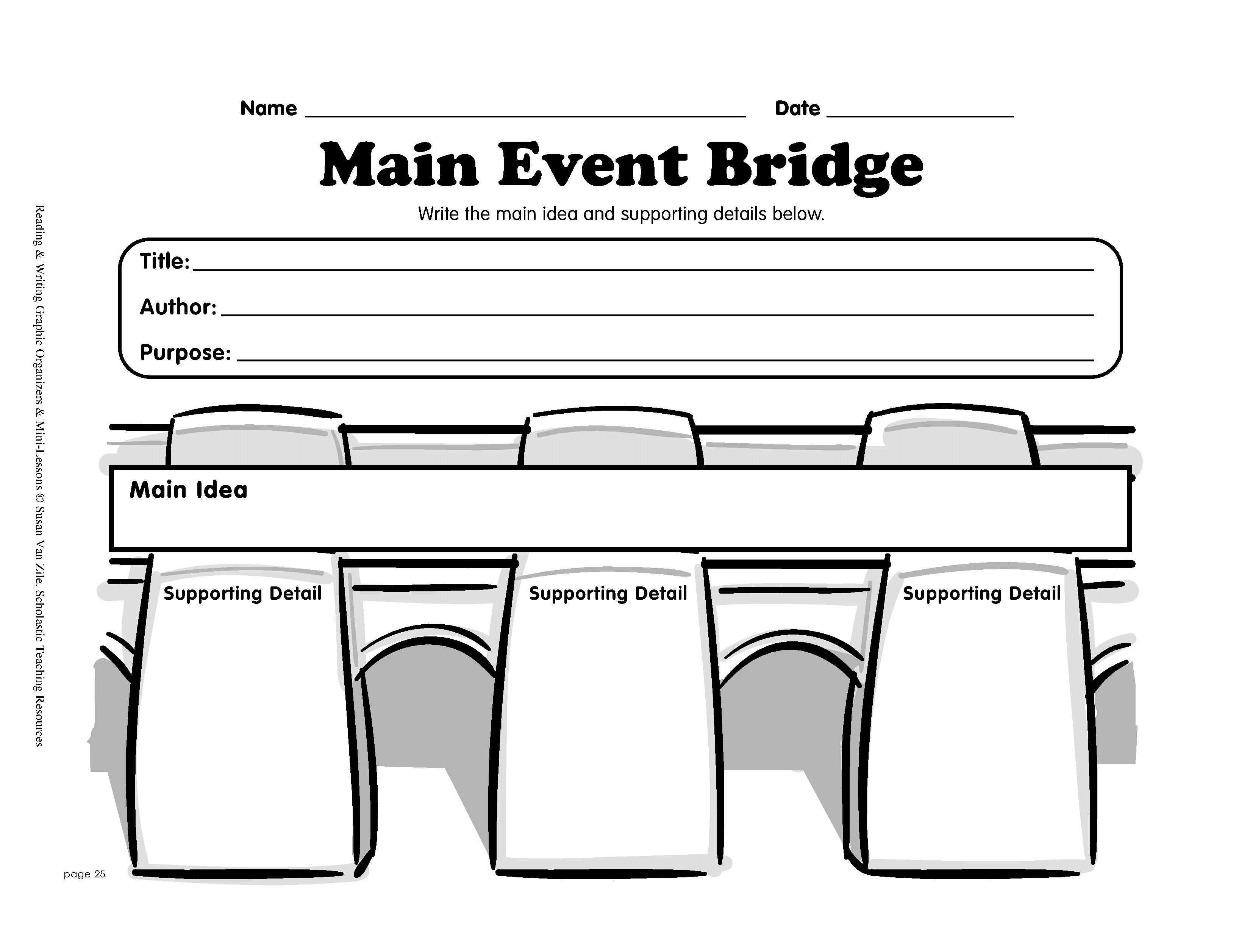 Reading Graphic Organizer: Main Event Bridge | Printable Graphic - Free Printable Main Idea Graphic Organizer