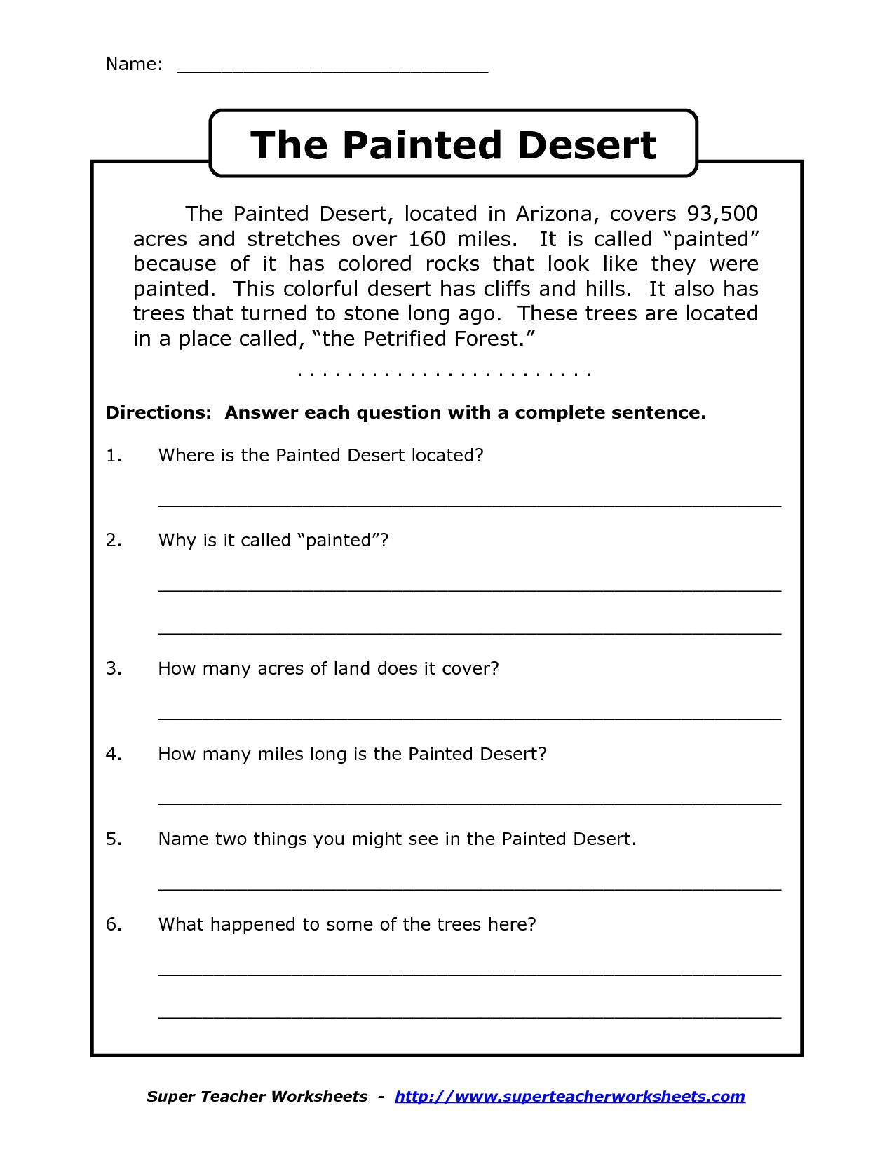 Reading Worksheets For 4Th Grade | Reading Comprehension Worksheets - Free Printable Comprehension Worksheets For Grade 5