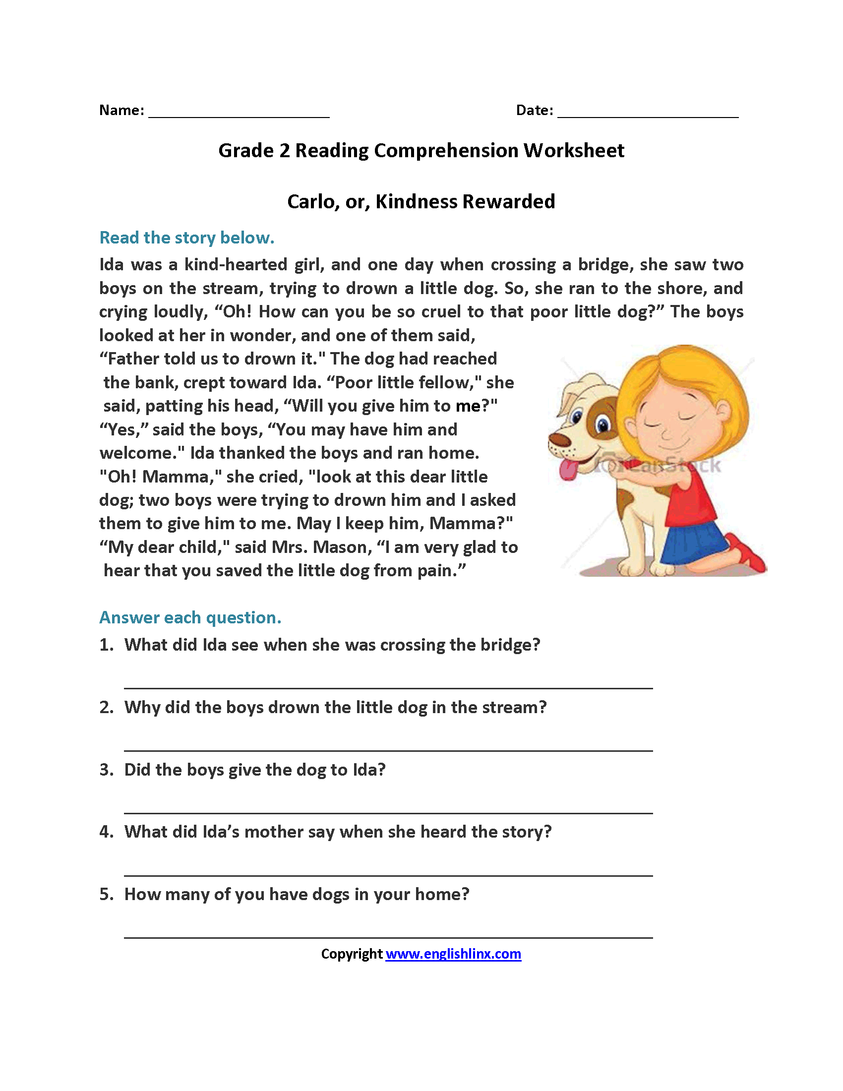 Reading Worksheets | Second Grade Reading Worksheets - Free Printable Short Stories For 2Nd Graders