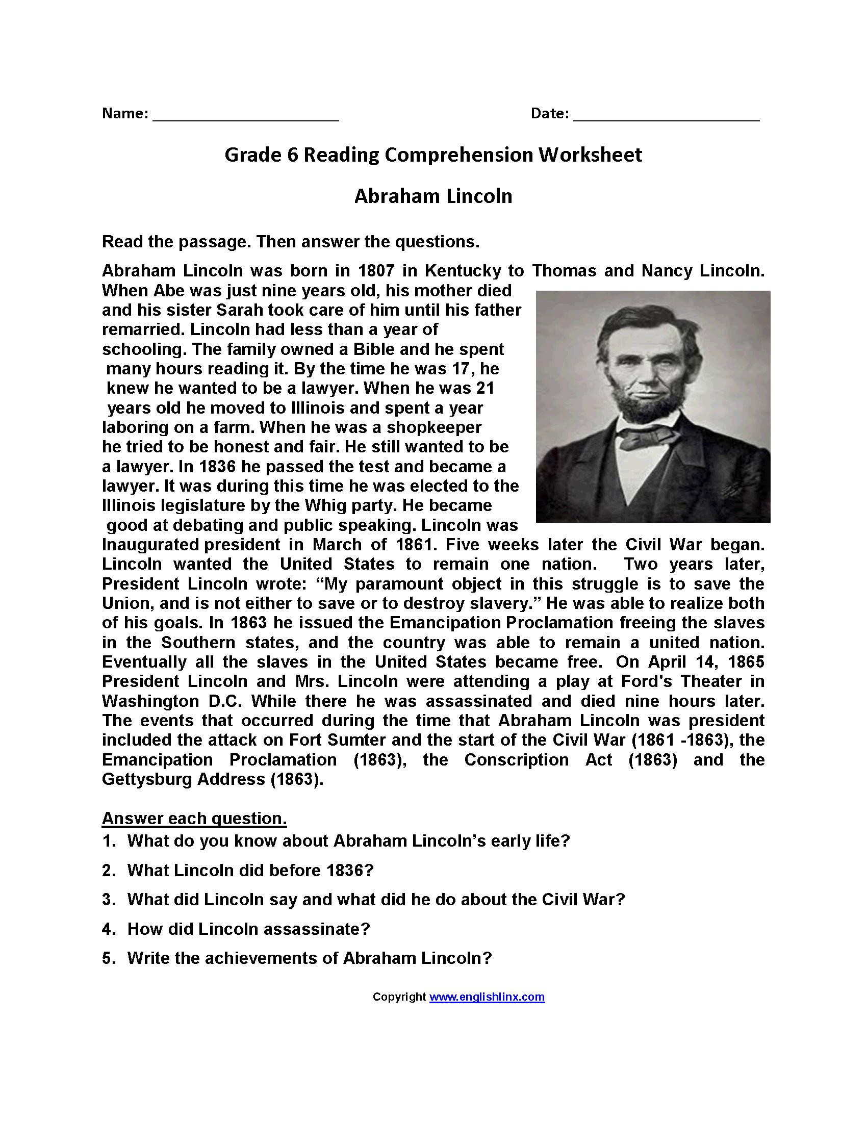 Reading Worksheets | Sixth Grade Reading Worksheets - Free Printable Comprehension Worksheets For Grade 5