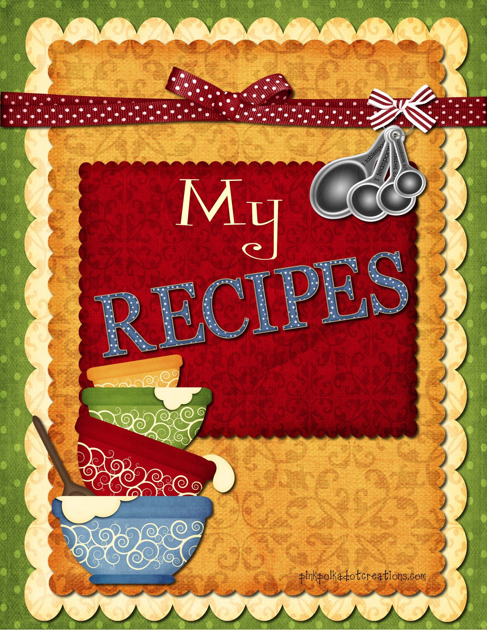 Recipe Book Dividers | Home Organization & Decor | Scrapbook Recipe - Free Printable Recipe Book Pages