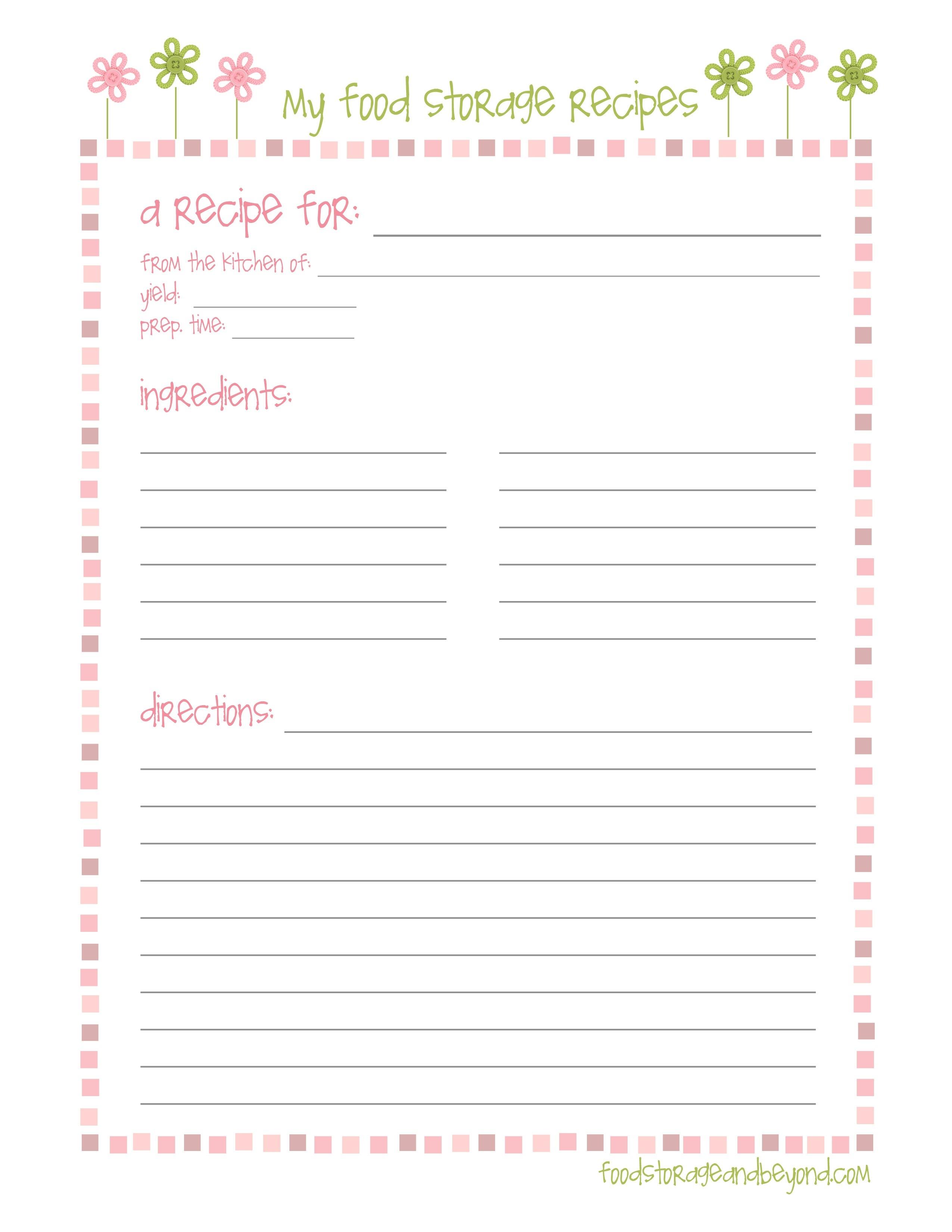 Recipe Page Templates - Goal.goodwinmetals.co With Free Printable - Free Printable Recipe Page Template