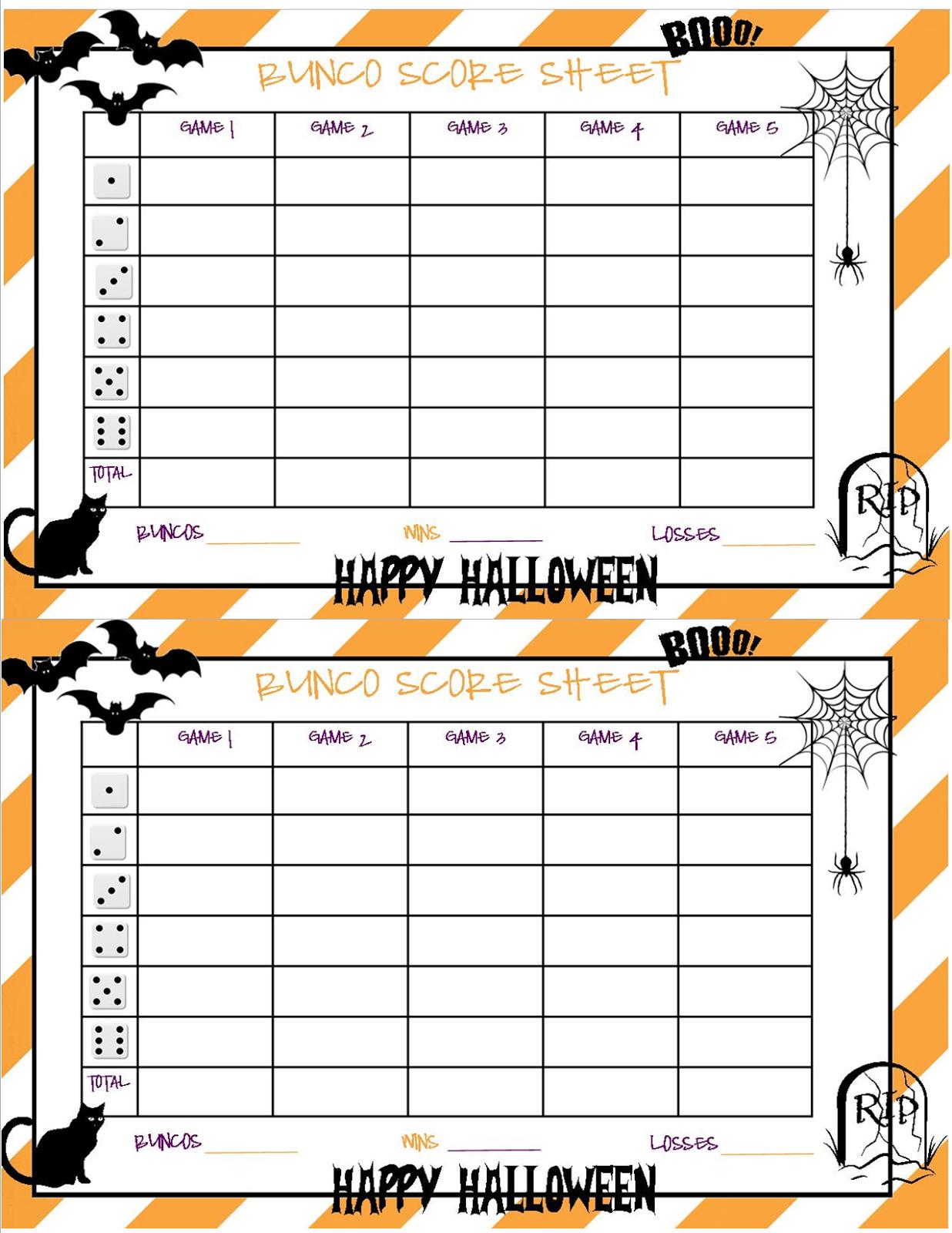 Recipes From Stephanie: Halloween Bunco Sheet | Halloween - Free Printable Halloween Bunco Score Sheets