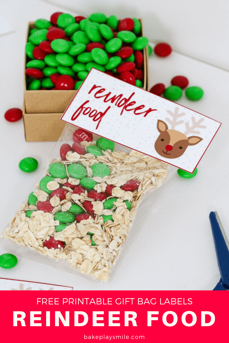Reindeer Food - Free Christmas Printable Gift Bag - Bake Play Smile - Free Printable Christmas Food Labels