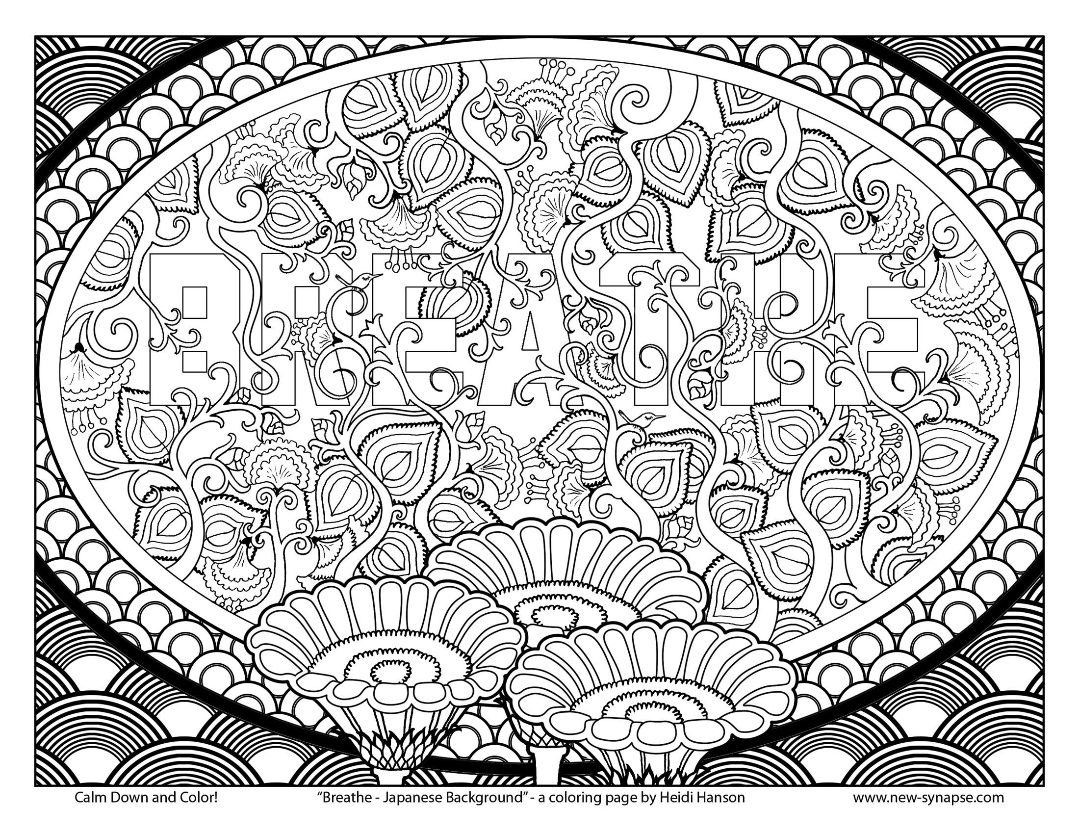 """Remember To Breathe Free Coloring Page """"breathe - Japanese - Free Printable Background Pages"""