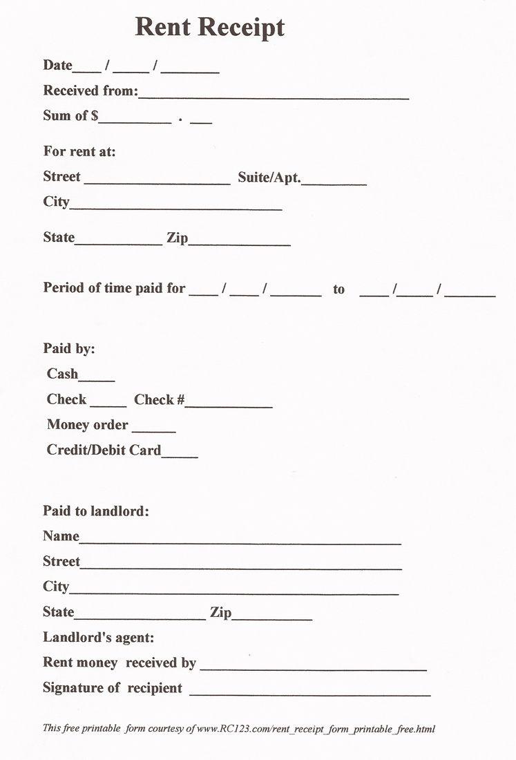 Rent Receipt Free Printable - Www.rc123   Diy   Pinterest - Free Printable Rent Receipt