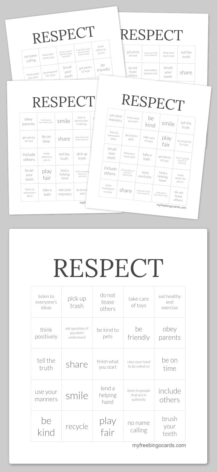 Respect Bingo   Counselor Ideas   Pinterest   Free Printable Bingo - Free Printable Self Esteem Bingo