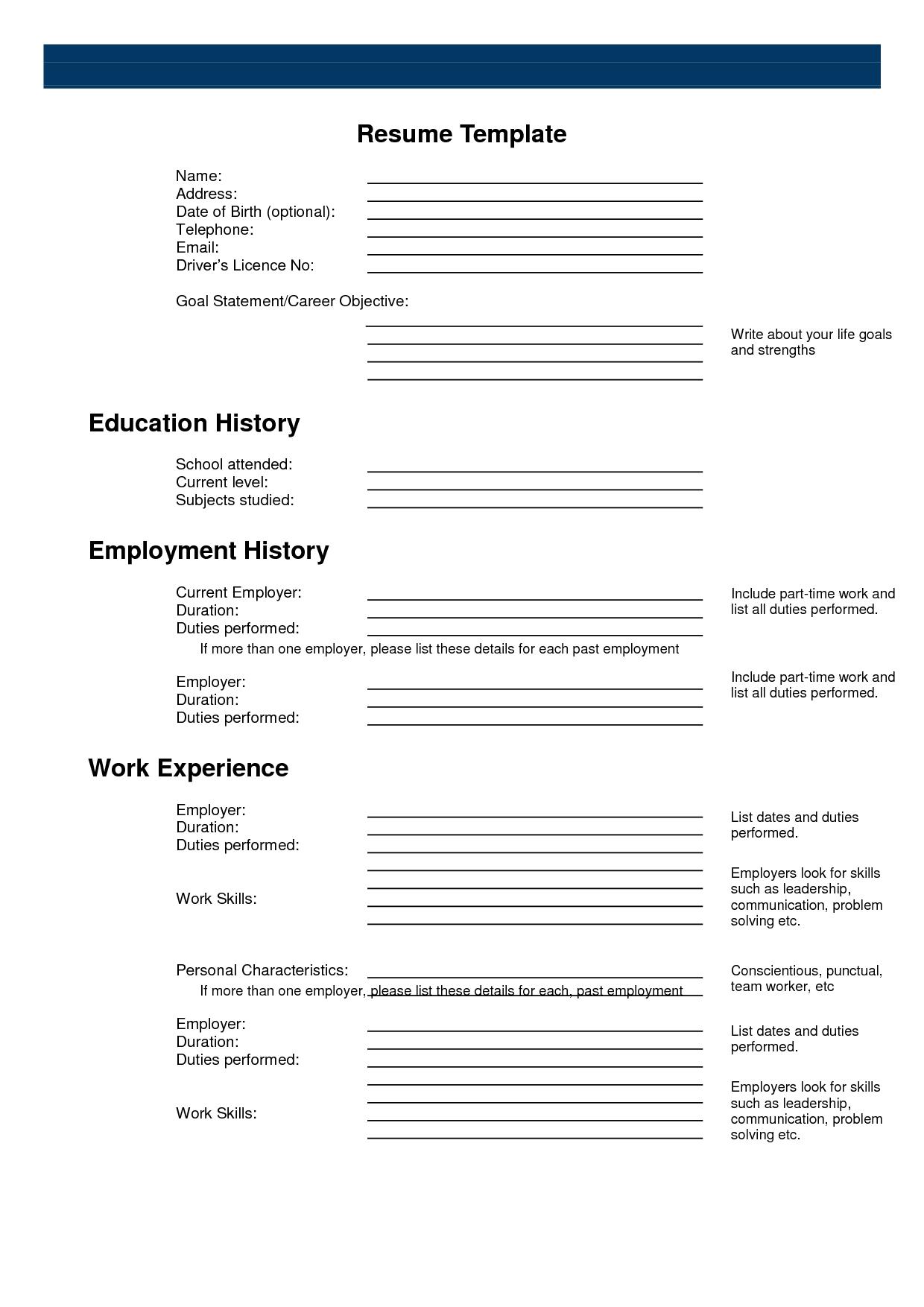 Resume Templates Online Free Printable - Free Resume Creator Online - Free Printable Resume