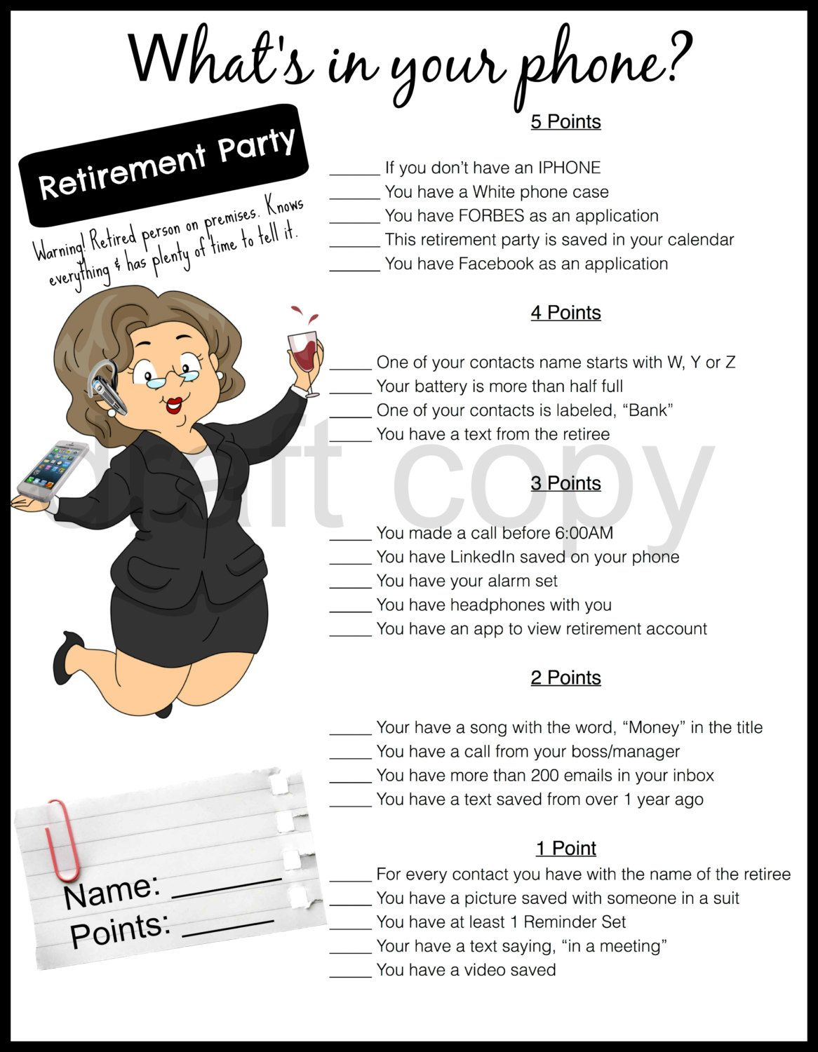 Retirement Party Game-Whats In Your Phone | Retirement | Pinterest - Retirement Party Games Free Printable