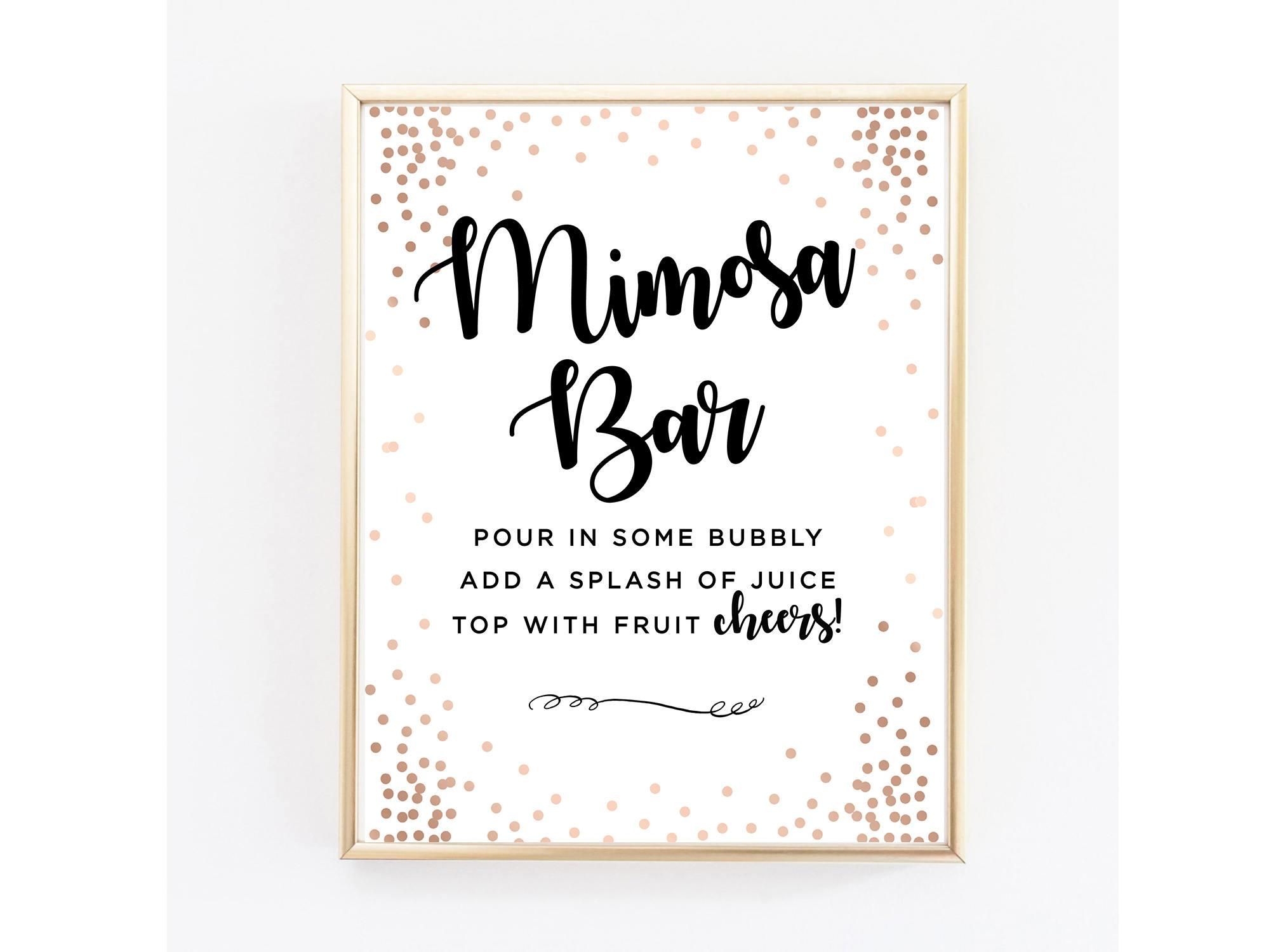 Rose Gold Mimosa Bar Sign Mimosa Bar Sign Digital Rose Gold | Etsy - Free Printable Mimosa Bar Sign