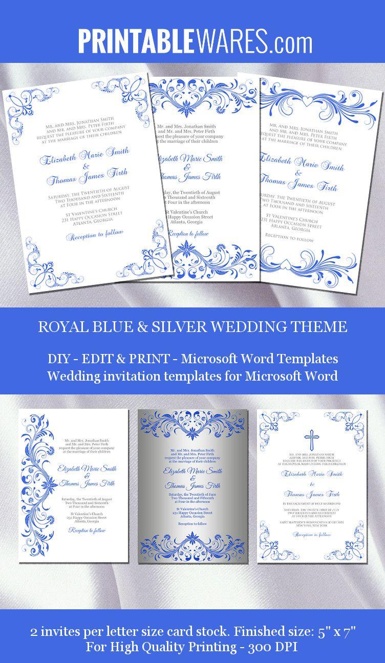Royal Blue And Silver Wedding Invitation Templates For Microsoft - Free Printable Wedding Invitation Templates For Microsoft Word