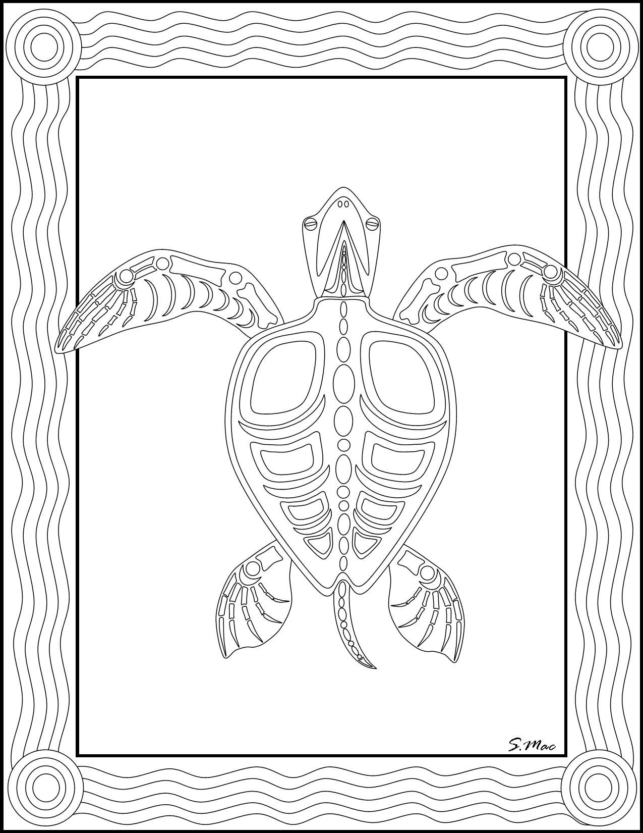 S.mac's Sea Turtle X-Ray Art Coloring Page   Art- Coloring Therapy - Free Printable Animal X Rays