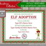 Sale Instant Download Editable Elf Adoption Certificate/ Add Family   Free Printable Adoption Certificate