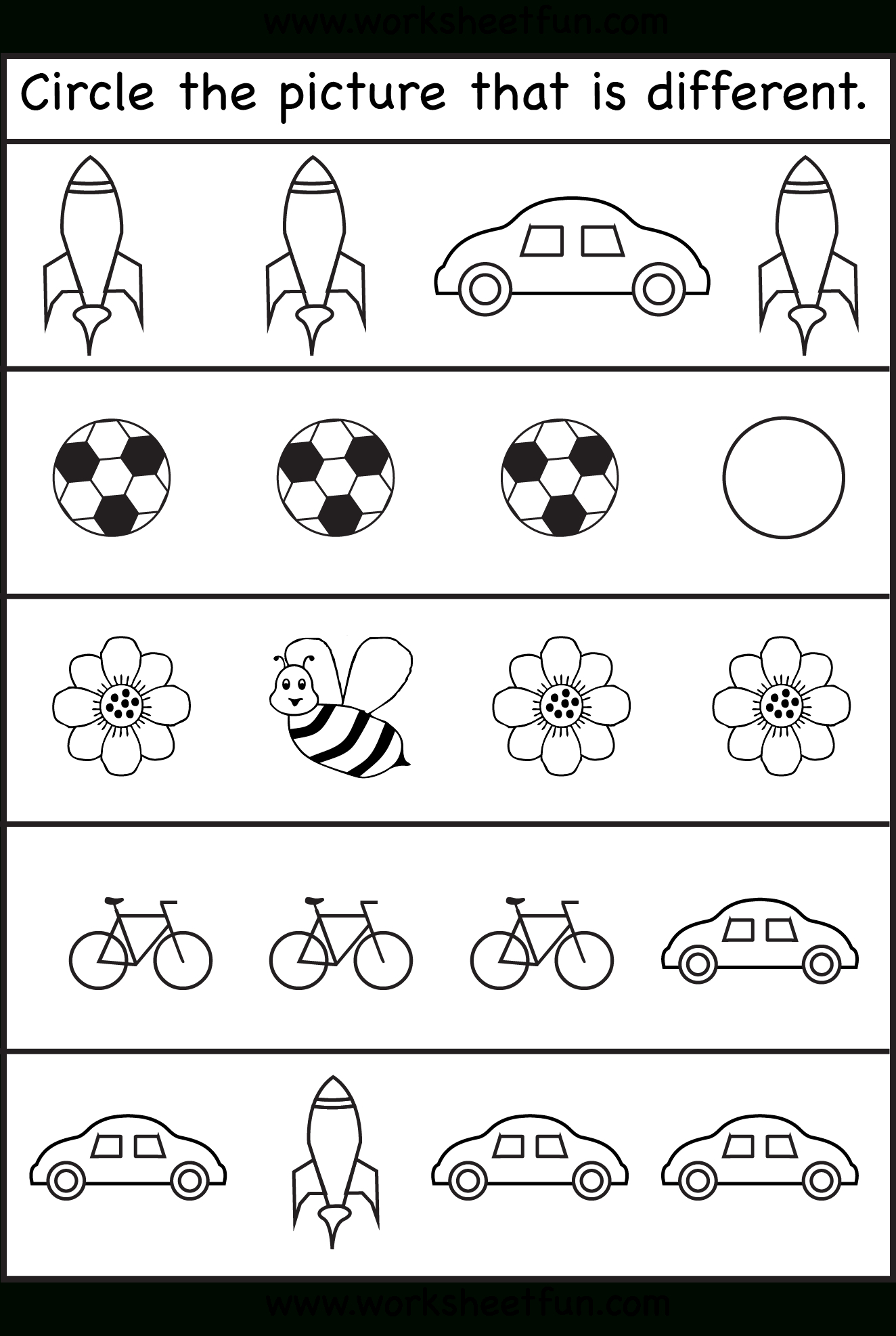 Same Or Different Worksheets For Toddler | Kids Worksheets Printable - Free Printable Same And Different Worksheets