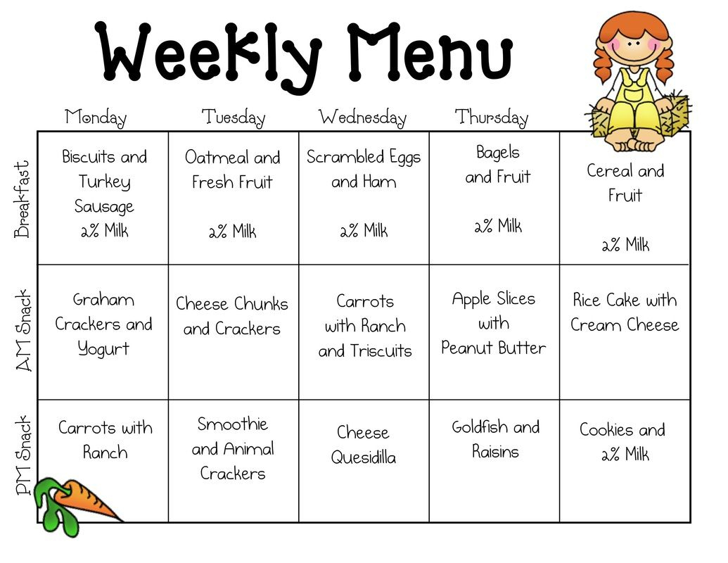 Sample Daycare Menu Templates | Preschool | Daycare Menu, Daycare - Free Printable Daycare Menus