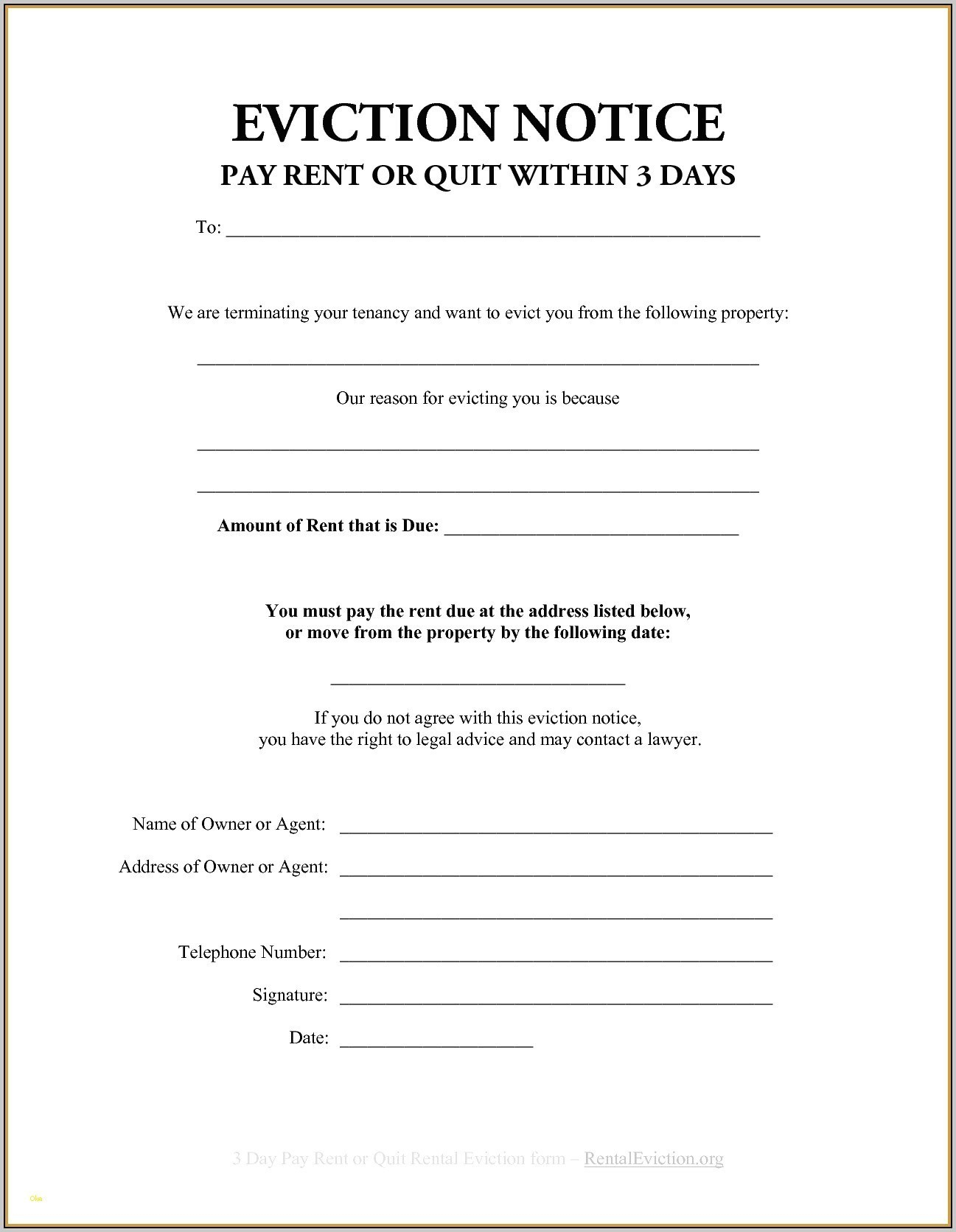 Sample Eviction Notice Letter Printable Form Template Free Notices - Free Printable Blank Eviction Notice