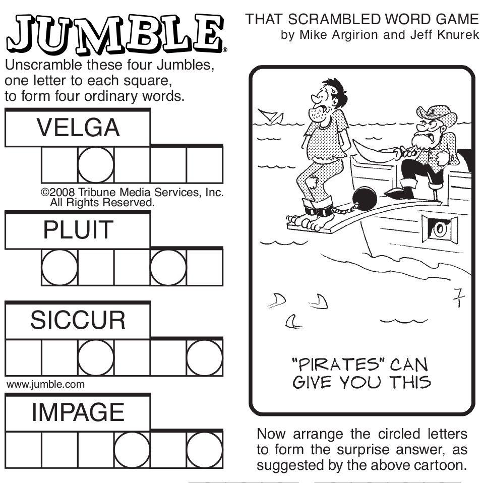 Sample Of Sunday Jumble   Tribune Content Agency   Stuff I Like - Free Printable Jumbles