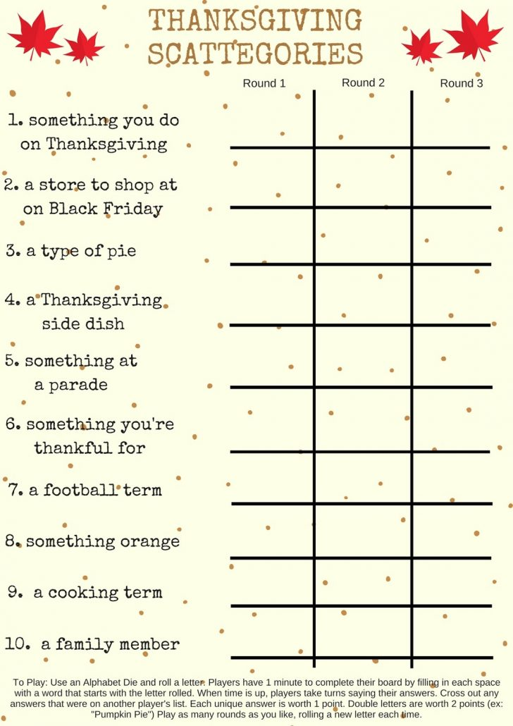 Thanksgiving Games Printable Free