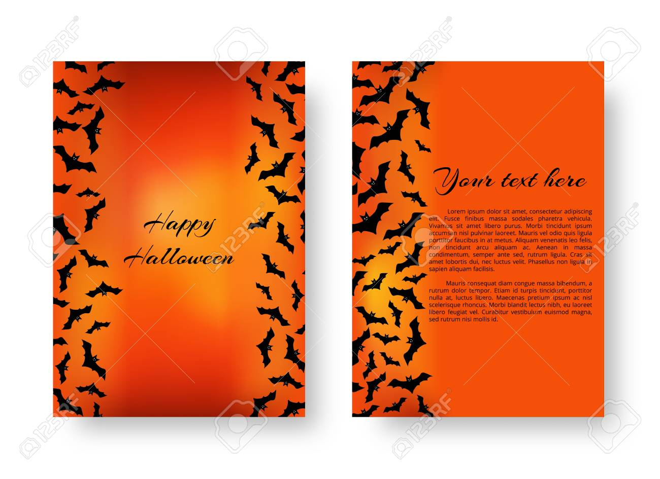Scary Greeting Card Template With Black Bats For Festive Halloween - Free Online Christmas Photo Card Maker Printable