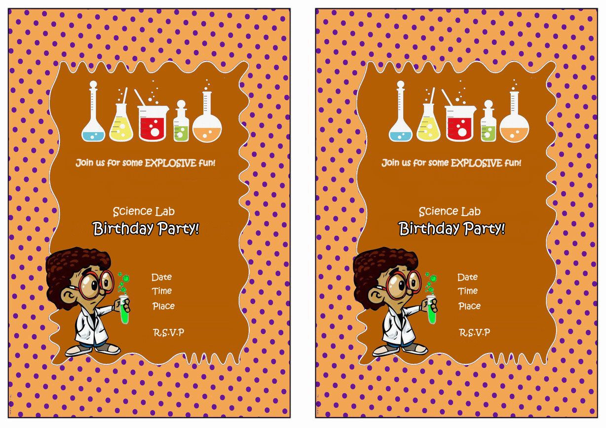 Science Free Printable Birthday Party Invitations   Birthday Party - Free Printable Science Birthday Party Invitations