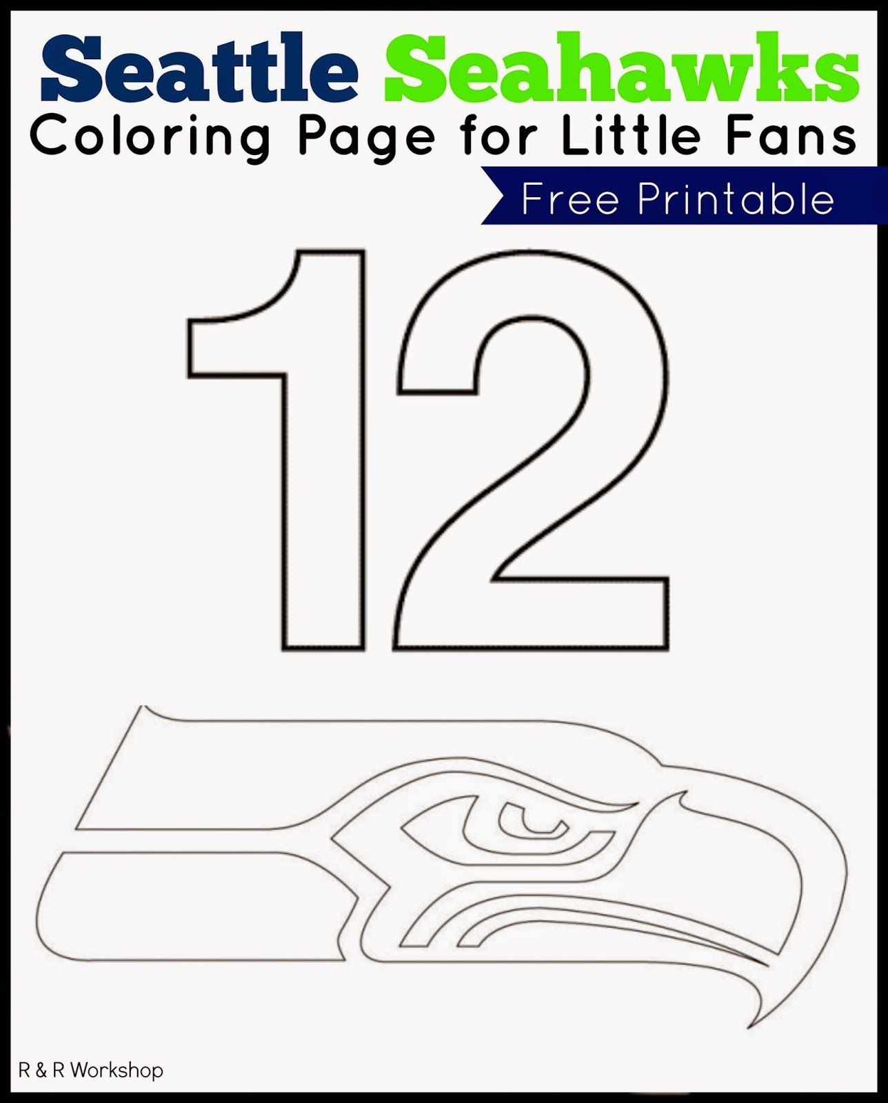 Seattle Seahawks Coloring Page For Kids   Ogt Blogger Friends - Free Printable Seahawks Coloring Pages