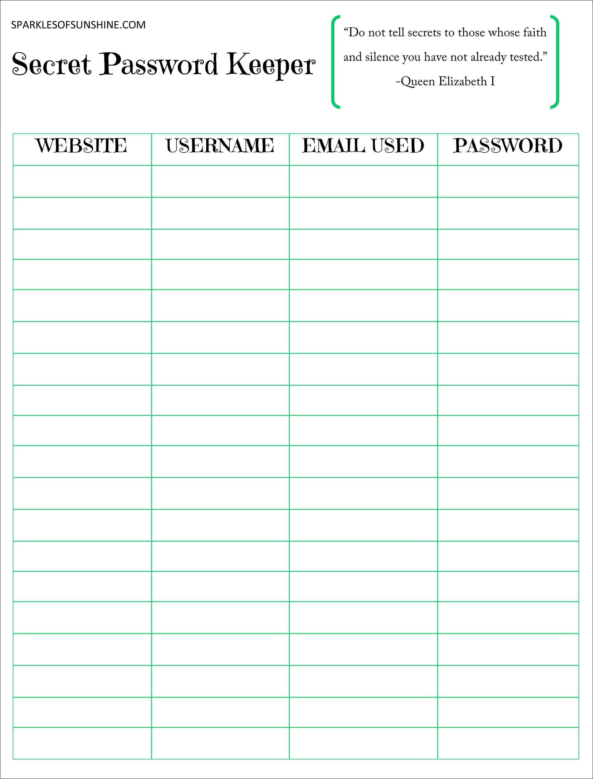 Secret Password Keeper Free Printable | Planners | Password Keeper - Free Printable Password Organizer