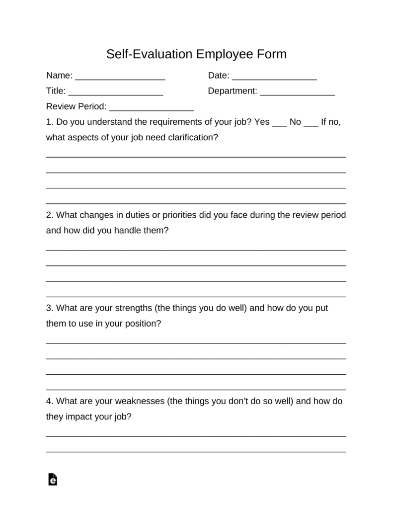 Self-Evaluation Employee Form | Eforms – Free Fillable Forms - Free Employee Self Evaluation Forms Printable