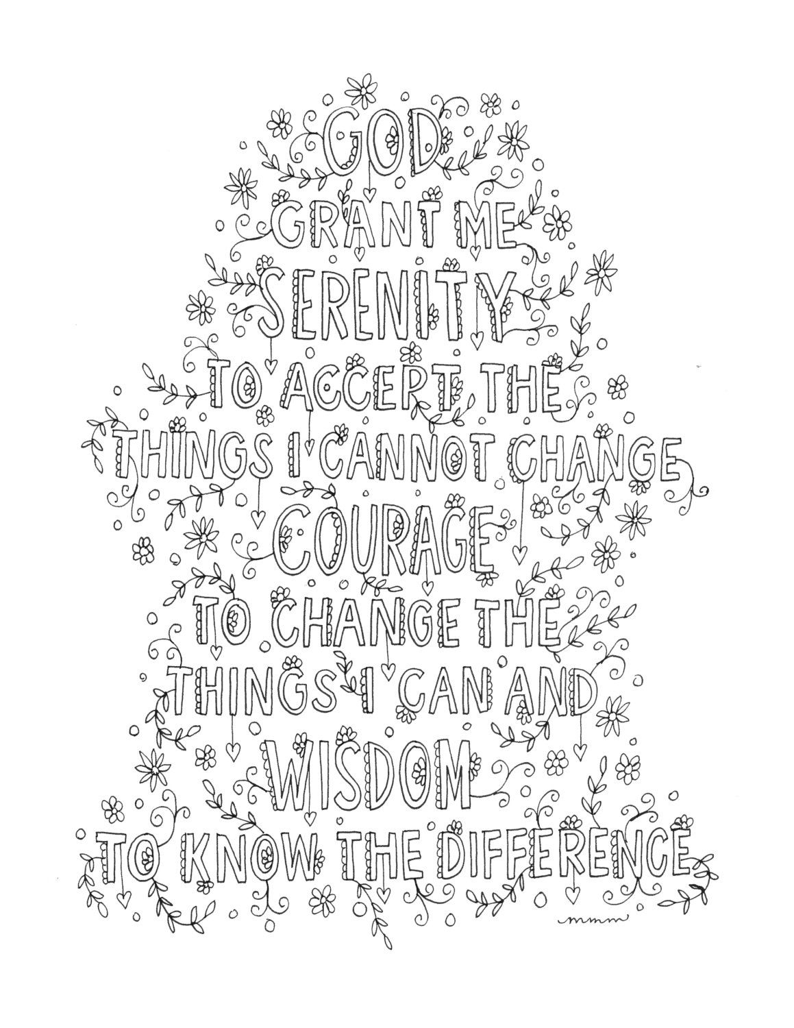 Serenity Prayer Quote Coloring Page -Instant Download, Line Art - Free Printable Serenity Prayer