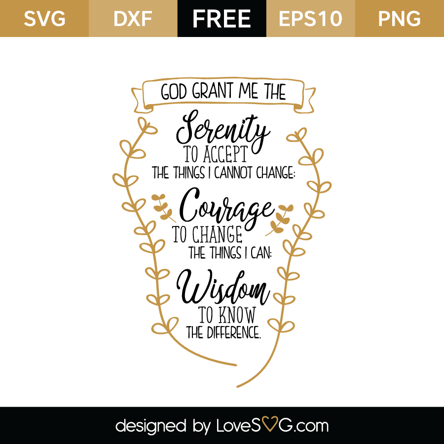 Serenity Prayer - Short Version | Lovesvg - Free Printable Serenity Prayer