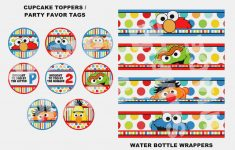 Sesame Street Water Bottle Labels, Cupcake Toppers, Party Tags - Free Printable Sesame Street Cupcake Toppers