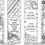 Set Of 4 Coloring Bookmarks With Quotes, Bookmark Templates With   Free Printable Bookmarks Templates