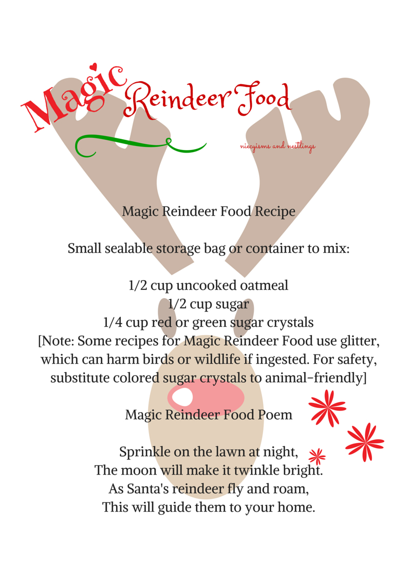 Share The Magic Reindeer Food Recipe And Poem - Free Printable - Reindeer Food Poem Free Printable