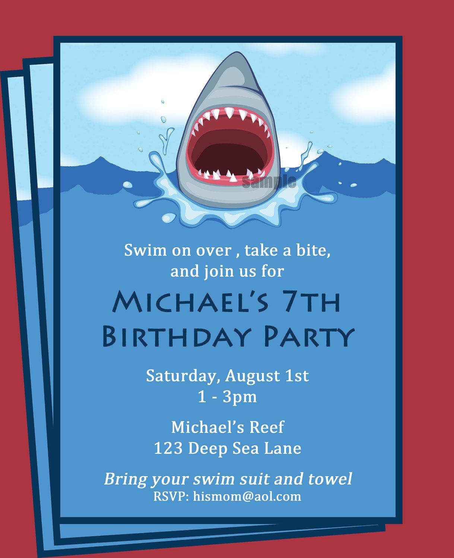 Shark Invitation Printable Printable Or Printed With Free   Etsy - Shark Invitations Free Printable