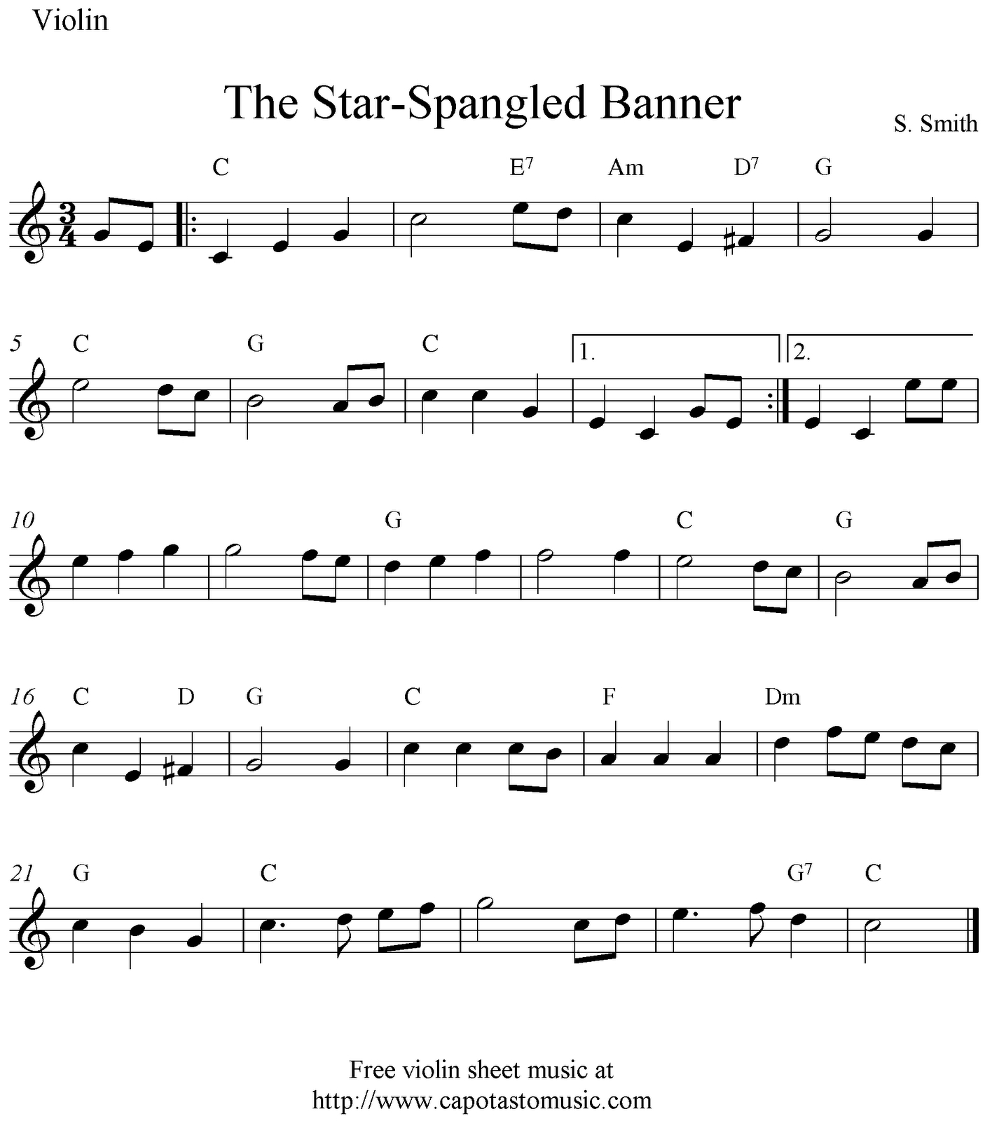 Sheet Music Violin | The Star-Spangled Banner, Free Easy Violin - Free Printable Piano Sheet Music For The Star Spangled Banner