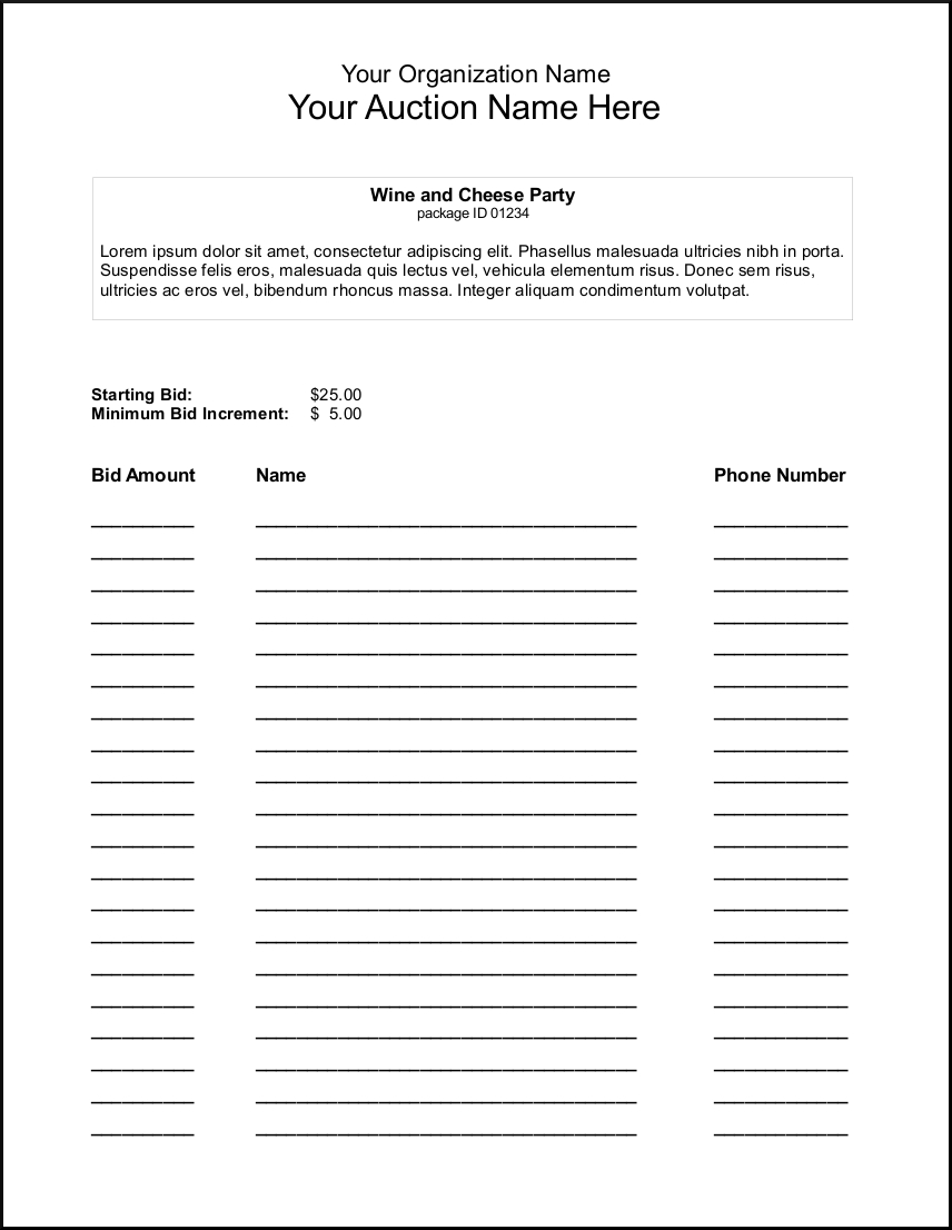 Silent Auction Bid Sheet Template - Google Search | Auction Ideas - Free Printable Silent Auction Bid Sheets