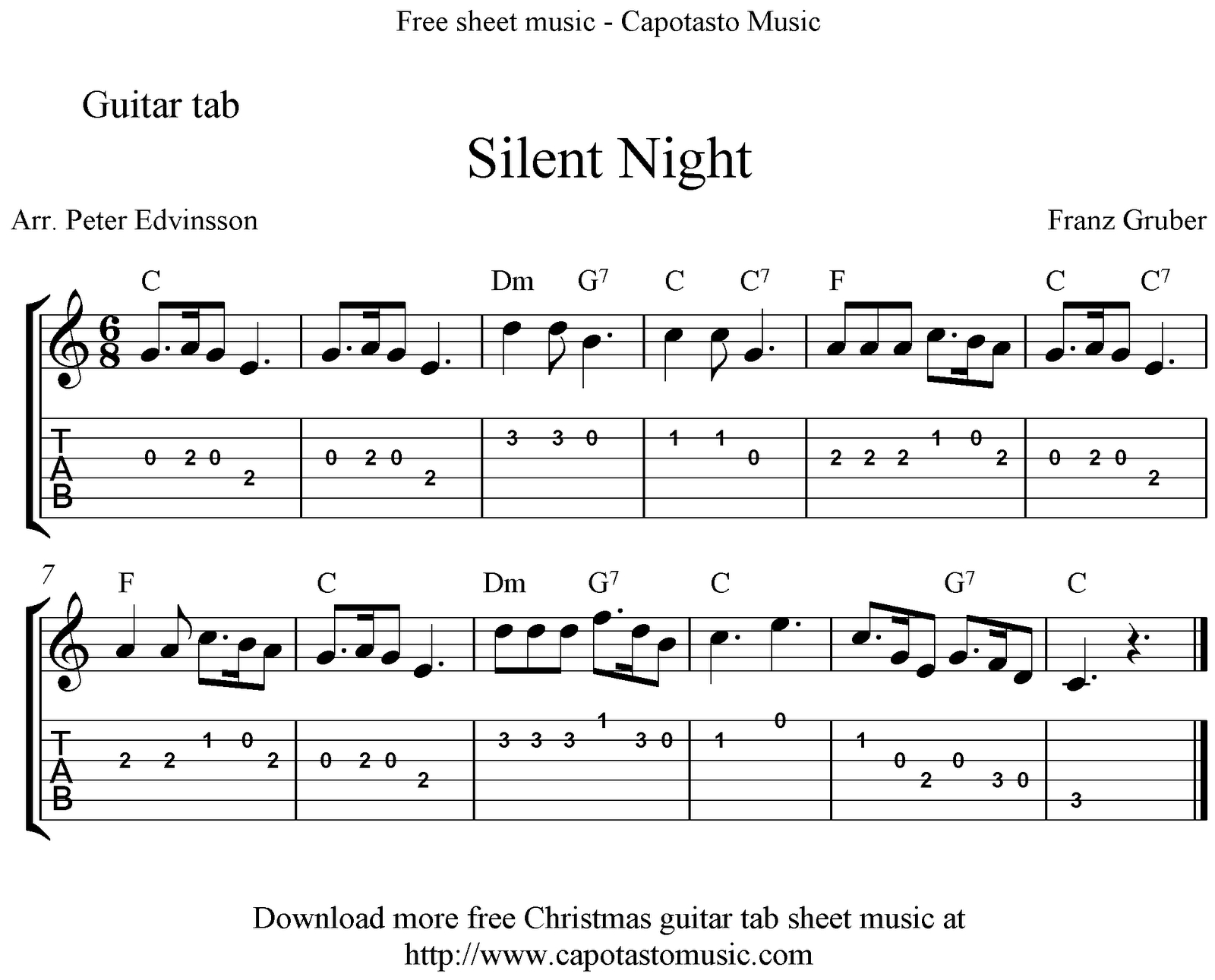 Silent Night, Easy Free Christmas Guitar Tab Sheet Music - Free Printable Guitar Tabs For Beginners