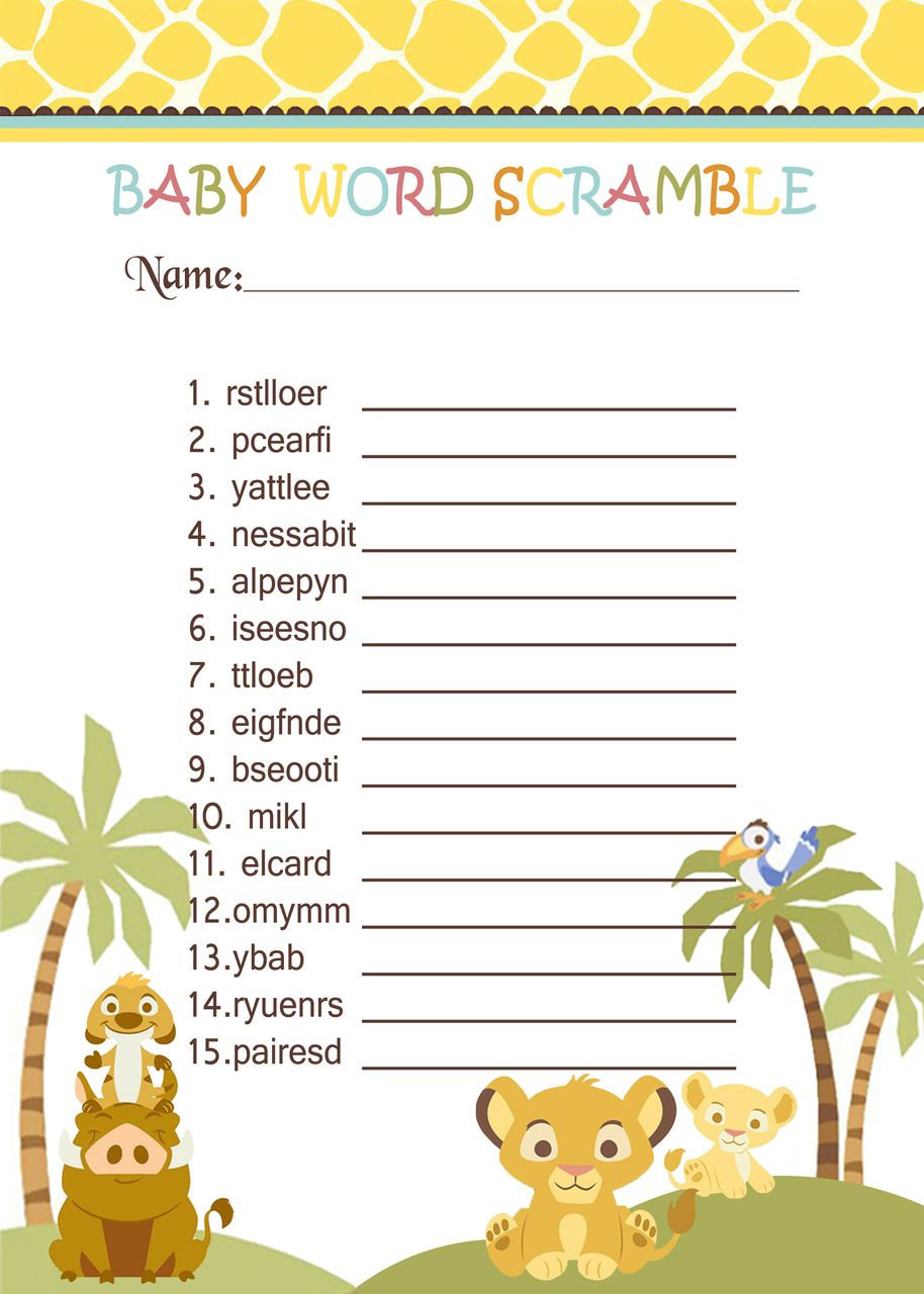 Simba Lion King Baby Shower Games - Word Scramble In 2019   Jungle - Free Printable Lion King Baby Shower Invitations