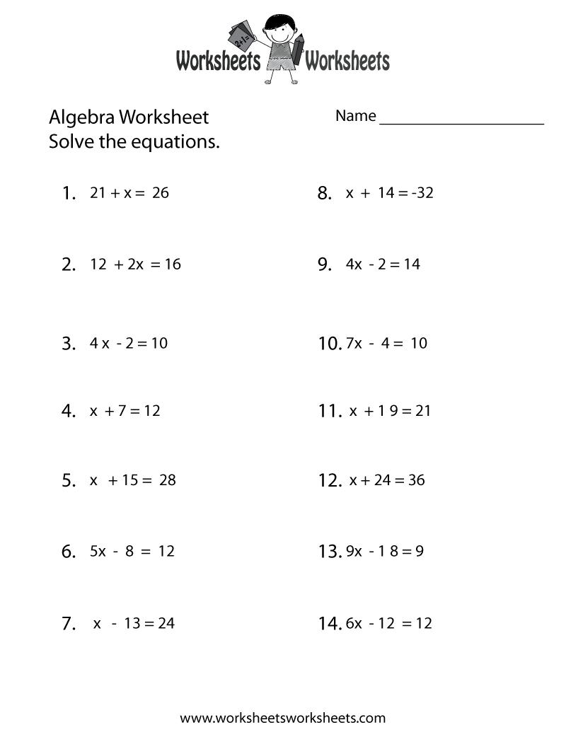 Simple Algebra Worksheet Printable | Math Worksheets | Pinterest - Free Printable Algebra Worksheets Grade 6