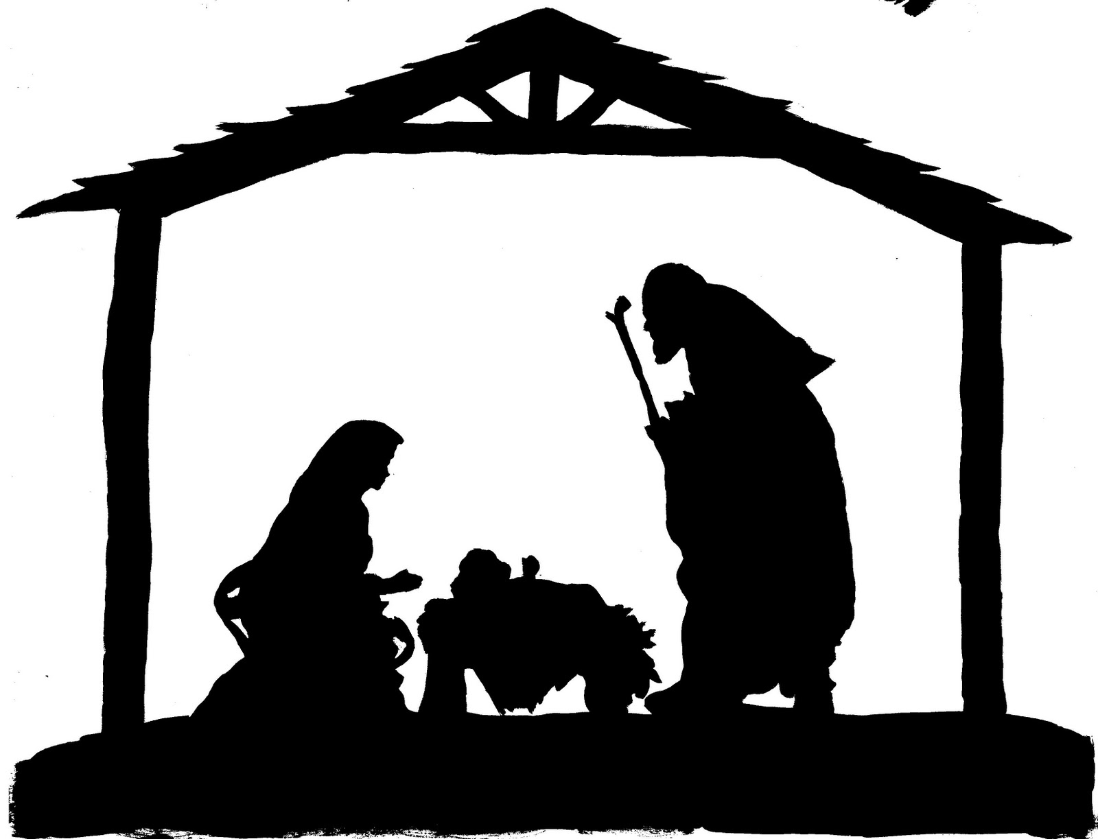 Simple Nativity Silhouette Clipart - Free Printable Nativity Silhouette