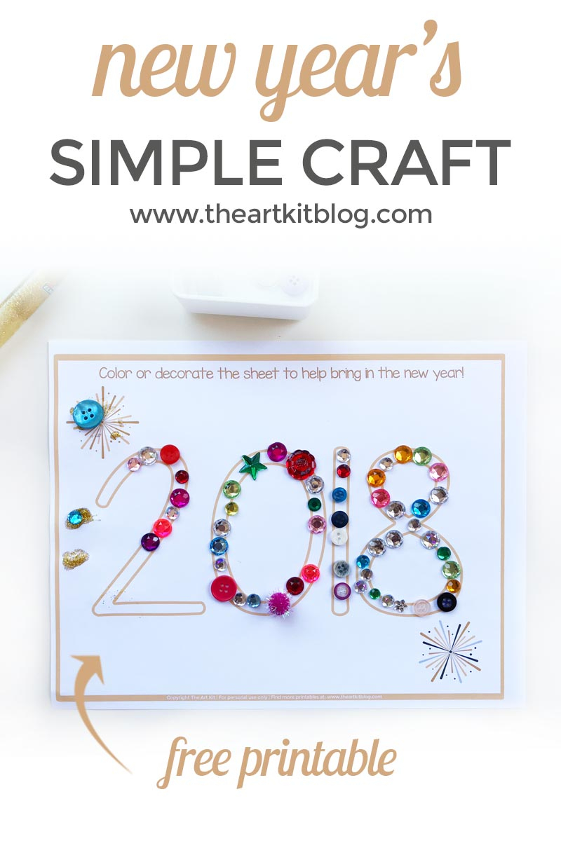Simple New Year's Craft For Kids {Free Printable} - The Art Kit - Free Printable Crafts